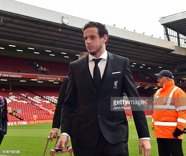 Danny Ward of Liverpool arrives before the Barclays Premier League match between Liverpool and Tottenham Hotspur at Anfield on April 2 2016 in...