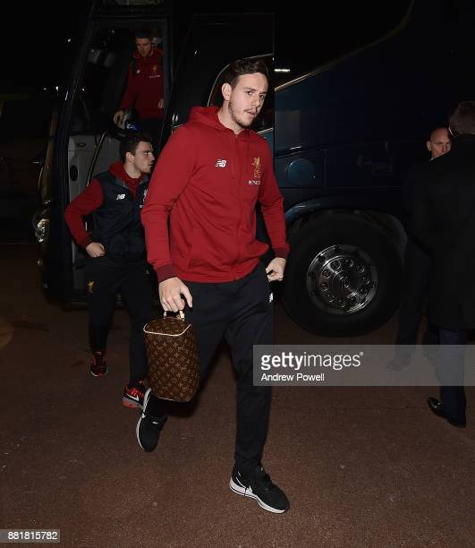 Danny Ward of Liverpool arrives before the Premier League match between Stoke City and Liverpool at Bet365 Stadium on November 29 2017 in Stoke on...