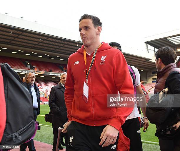 Danny Ward of Liverpool arrives before the UEFA Europa League Semi Final Second Leg match between Liverpool and Villarreal CF at Anfield on May 05...