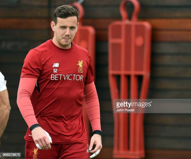 Danny Ward of Liverpool during a training session at Melwood on May 9 2018 in Liverpool England