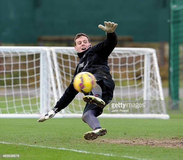Danny Ward of Liverpool during a training session at Melwood Training Ground on February 20 2015 in Liverpool England