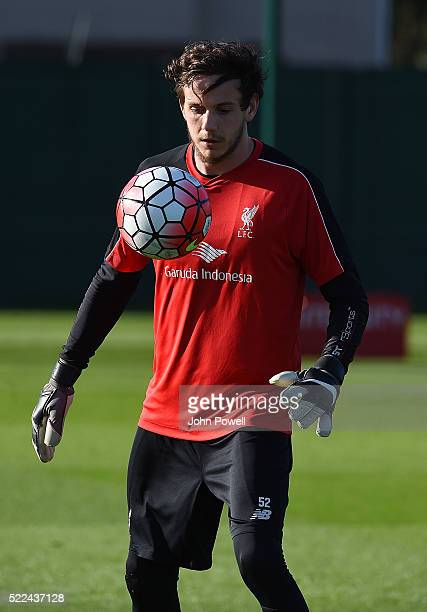 Danny Ward of Liverpool during a training session at Melwood Training Ground on April 19 2016 in Liverpool England