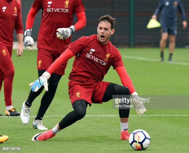 Danny Ward of Liverpool during a training session at Melwood Training Ground on August 10 2017 in Liverpool England