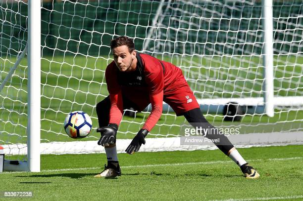 Danny Ward of Liverpool during a training session at Melwood Training Ground on August 17 2017 in Liverpool England