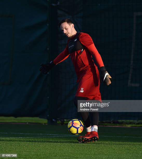 Danny Ward of Liverpool during a training session at Melwood Training Ground on November 16 2017 in Liverpool England