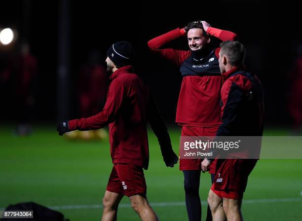 Danny Ward of Liverpool during a training session at Melwood Training Ground on November 23 2017 in Liverpool England