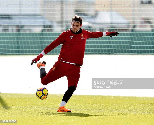 Danny Ward of Liverpool during a training session at Melwood Training Ground on February 27 2018 in Liverpool England