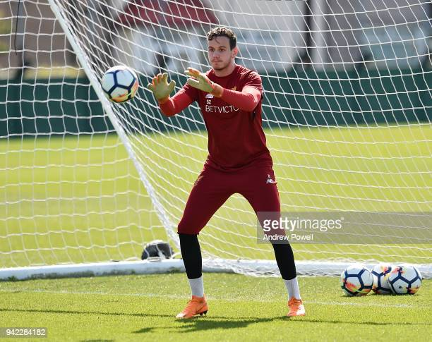 Danny Ward of Liverpool during a training session at Melwood Training Ground on April 5 2018 in Liverpool England