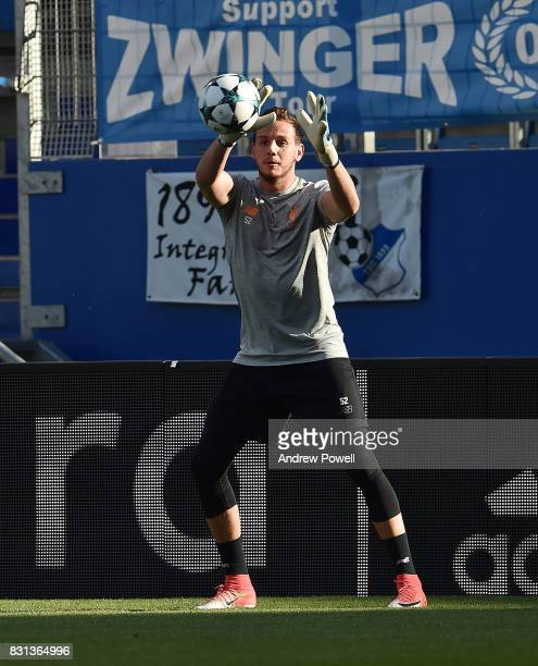 Danny Ward of Liverpool during a training session at Wirsol RheinNeckarArena on August 14 2017 in Sinsheim Germany
