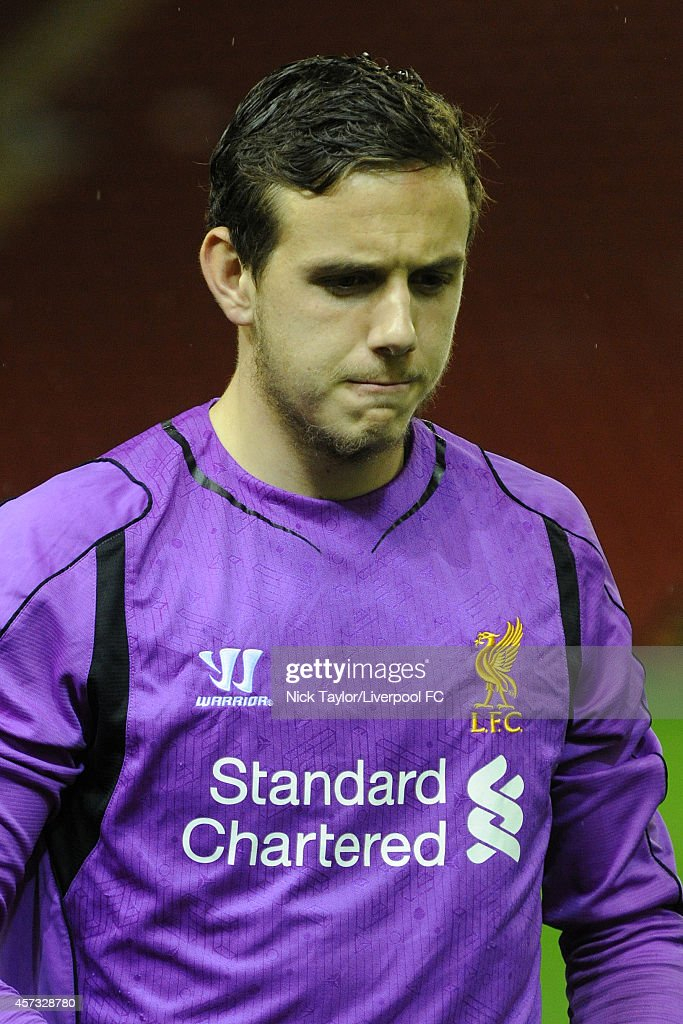 Danny Ward of Liverpool during the Barclays Premier League Under 21 fixture between Liverpool and Southampton at Anfield on October 16 in Liverpool, England.