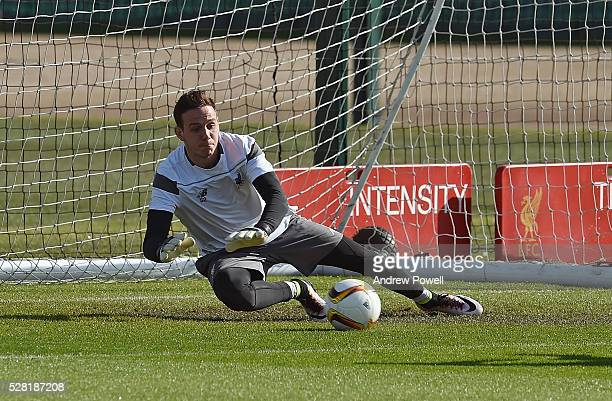 Danny Ward of Liverpool during the training session at Melwood Training ground on May 04 2016 in Liverpool England