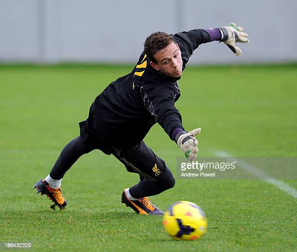 Danny Ward of Liverpool in action during a training session at Melwood Training Ground on October 31 2013 in Liverpool England
