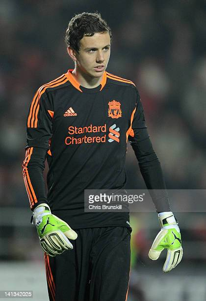 Danny Ward of Liverpool looks on during the NextGen Series SemiFinal match between Liverpool U19 and Ajax U19 at Langtree Park on March 14 2012 in St...