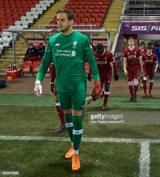 Danny Ward of Liverpool makes his way onto the pitch at the start of the Liverpool v Porto Premier League International Cup game at Leigh Sports...