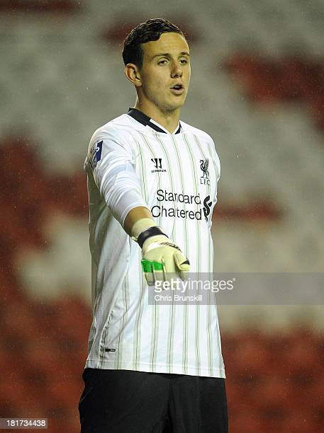 Danny Ward of Liverpool U21 gestures during the Barclays U21s Premier League match between Liverpool U21 and Sunderland U21 at Anfield on September...