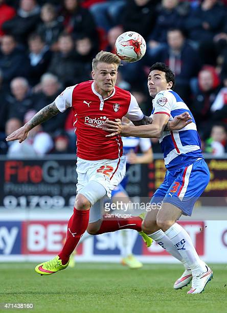 Danny Ward of Rotherham competes with Stephen Kelly of Reading during the Sky Bet Championship match between Rotherham United and Reading at The New...