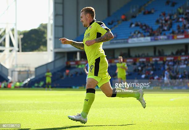 Danny Ward of Rotherham United celebrates after scoring the opening goal during the Sky Bet Championship match between Blackburn Rovers and Rotherham...
