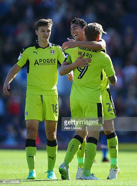 Danny Ward of Rotherham United celebrates with Stephen Kelly after scoring the opening goal during the Sky Bet Championship match between Blackburn...