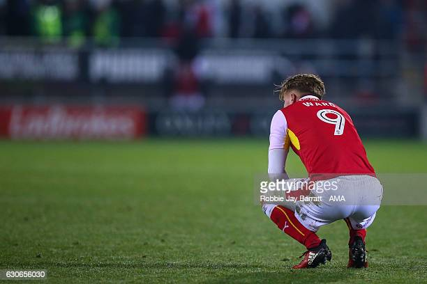 Danny Ward of Rotherham United dejected at full time during the Sky Bet Championship match between Rotherham United and Burton Albion at The New York...