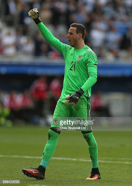 Danny Ward of Wales celebrates his side's second goal during the UEFA Euro 2016 Group B match between Wales and Slovakia at Nouveau Stade de Bordeaux...