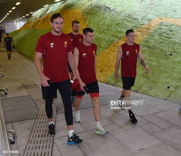 Danny Ward Simon Mignolet James Milner and Ryan Kent of Liverpool arrives before a training session on July 21 2017 in Hong Kong Hong Kong