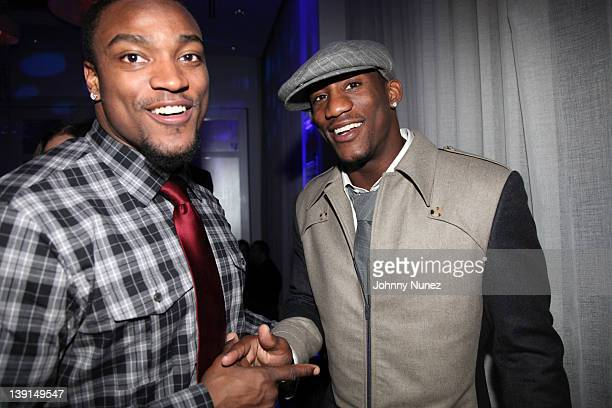 Danny Ware and Antrel Rolle attend the New York Giants Super Bowl Victory Party at the Allegria Hotel on February 16, 2012 in New York City.