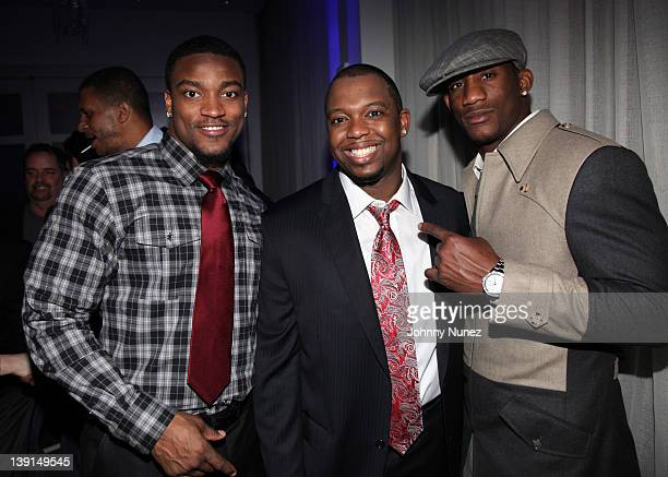 Danny Ware, Jeremy Kersaint, and Antrel Rolle attend the New York Giants Super Bowl Victory Party at the Allegria Hotel on February 16, 2012 in New...