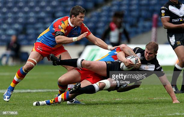 Danny Washbrook of Hull FC is tackled during the Engage Super League Magic Weekend game between Hull FC and Harlequins at Murrayfield on May 1 2010...