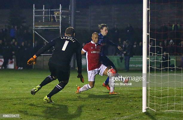 Danny Webber of Salford City scores their first goal past goalkeeper Roy Carroll of Notts County during the Emirates FA Cup first round match between...