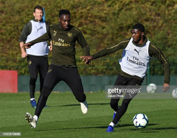 Danny Welbeck and Ainsley MaitlandNiles of Arsenal during the Arsenal Training Session at London Colney on October 21 2018 in St Albans England