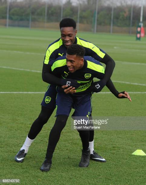 Danny Welbeck and Alex Iwobi of Arsenal during a training session at London Colney on February 13, 2017 in St Albans, England.