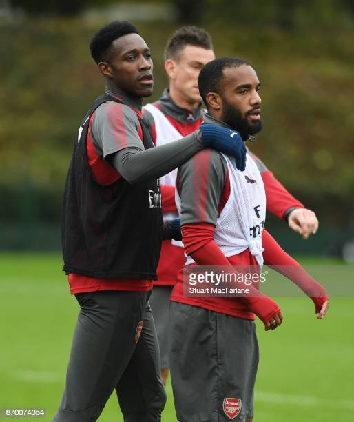 Danny Welbeck and Alex Lacazette of Arsenal during a training session at London Colney on November 4 2017 in St Albans England