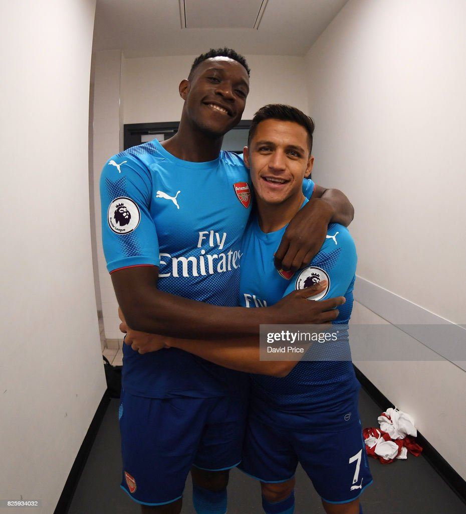 Danny Welbeck and Alexis Sanchez of Arsenal during their media duties before Arsenal Training Session at Emirates Stadium on August 3, 2017 in London, England.