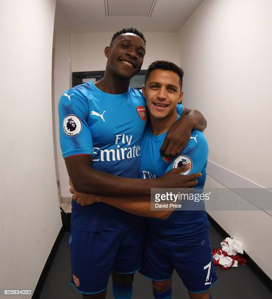 Danny Welbeck and Alexis Sanchez of Arsenal during their media duties before Arsenal Training Session at Emirates Stadium on August 3 2017 in London...