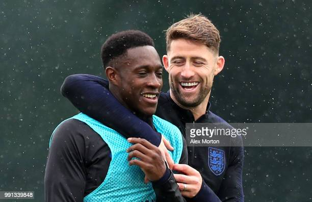 Danny Welbeck and Gary Cahill share a joke during an England training session on July 4 2018 in Saint Petersburg Russia