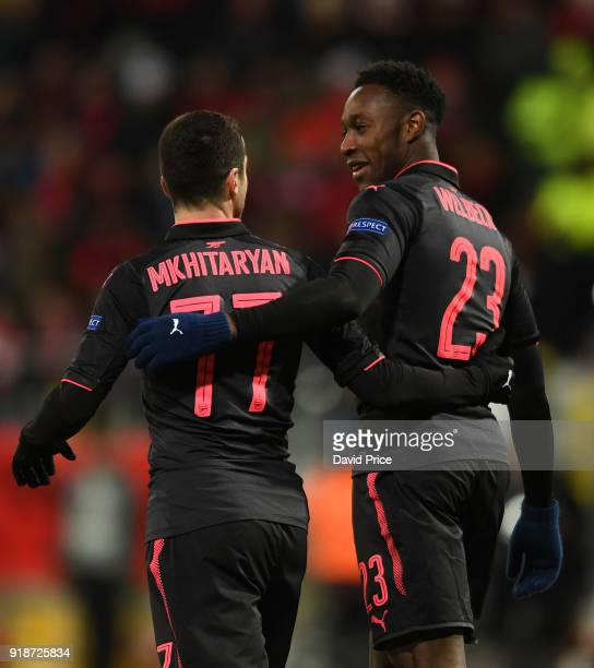 Danny Welbeck and Henrikh Mkhitaryan celebrate after the 2nd Arsenal goal during UEFA Europa League Round of 32 match between Ostersunds FK and...