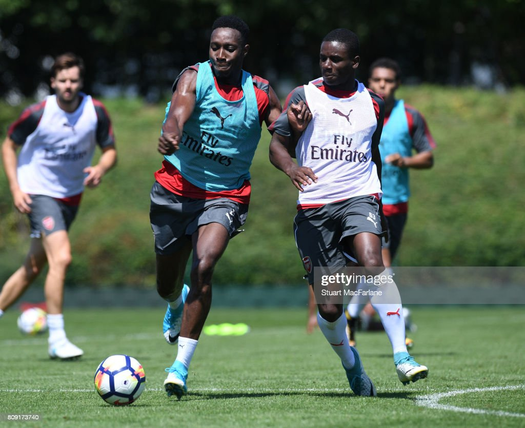 Danny Welbeck and Jordi Osei-Tutu of Arsenal during a training session at London Colney on July 5, 2017 in St Albans, England.