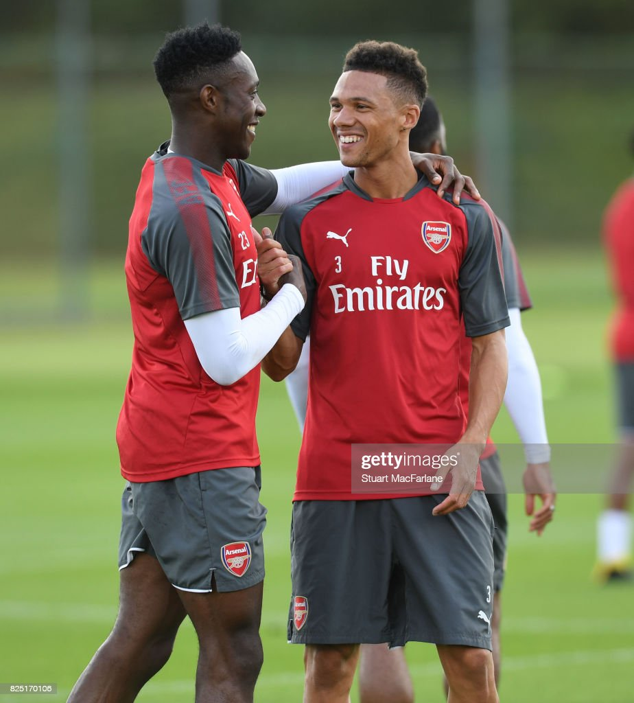 Danny Welbeck and Kieran Gibbs of Arsenal during a training session at London Colney on August 1, 2017 in St Albans, England.