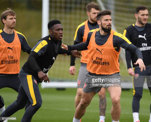 Danny Welbeck and Olivier Giroud of Arsenal during a training session at London Colney on April 29 2017 in St Albans England