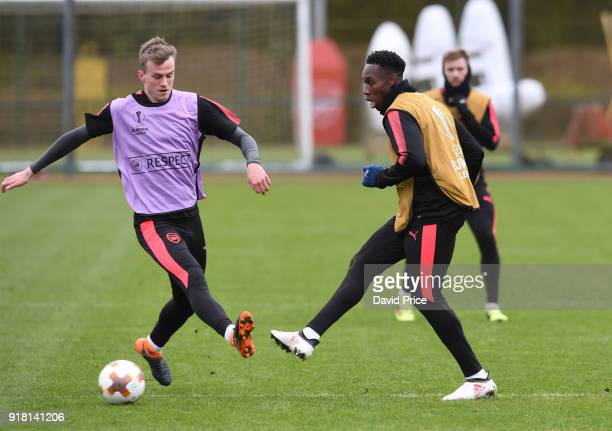 Danny Welbeck and Rob Holding of Arsenal during the Arsenal training session at London Colney on February 14 2018 in St Albans England