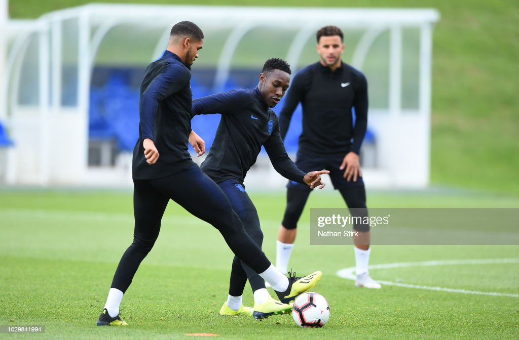 Danny Welbeck and Ruben Loftus-Cheek of England during a England training session at St Georges Park on September 9, 2018 in Burton-upon-Trent, England.
