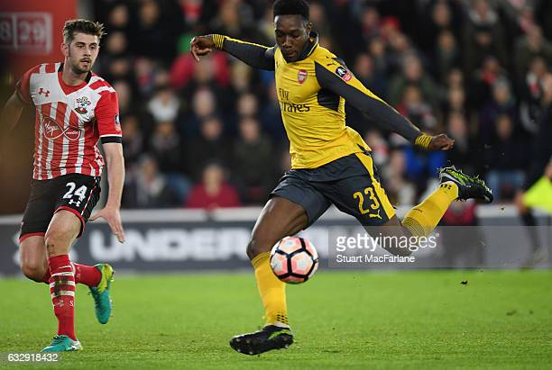 Danny Welbeck breaks past Southampton defender Jack Stephens to score the 2nd Arsenal goal during the Emirates FA Cup Fourth Round match between...