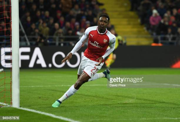 Danny Welbeck celebrates scoring Arsenal's 1st goal during the UEFA Europa League quarter final leg two match between CSKA Moskva and Arsenal FC at...