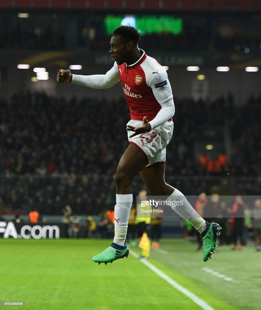 Danny Welbeck celebrates scoring Arsenal's 1st goal during the UEFA Europa League quarter final leg two match between CSKA Moskva and Arsenal FC at on April 12, 2018 in Moscow, Russia.