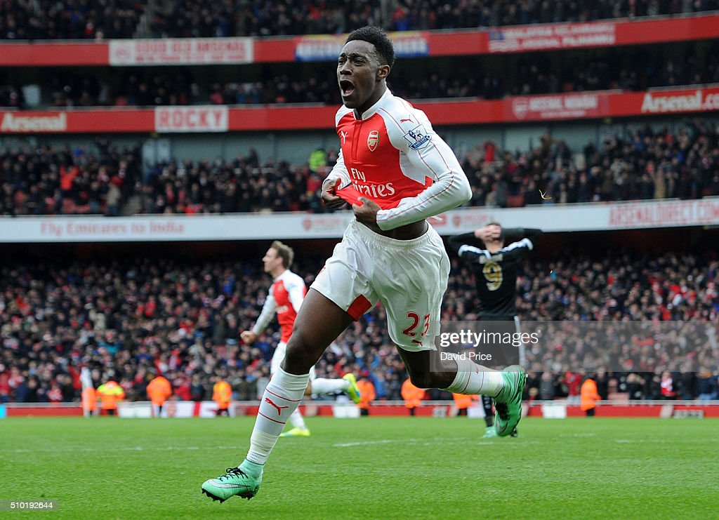 Danny Welbeck celebrates scoring Arsenal's 2nd goal during the Barclays Premier League match between Arsenal and Leicester City at Emirates Stadium on February 14th, 2016 in London, England