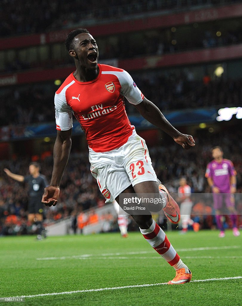 Danny Welbeck celebrates scoring Arsenal's 4th goal and his 3rd during the UEFA Champions League group match between Arsenal and Galatasaray on October 1, 2014 in London, United Kingdom.