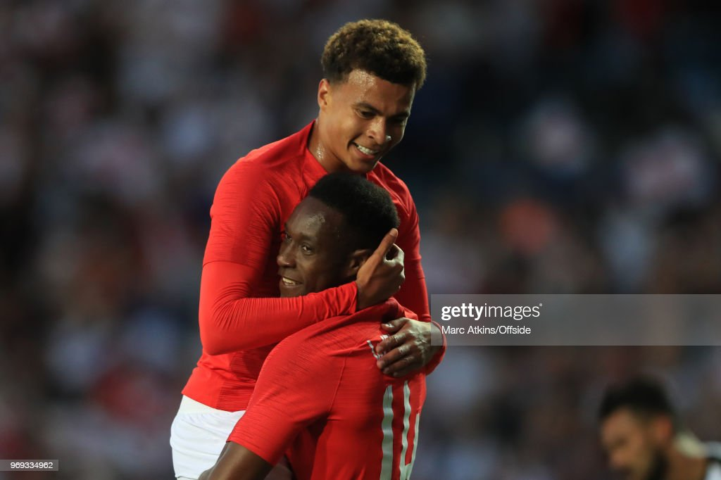Danny Welbeck celebrates scoring his goal with Deli Alli during the International Friendly match between England and Costa Rica at Elland Road on June 7, 2018 in Leeds, England.