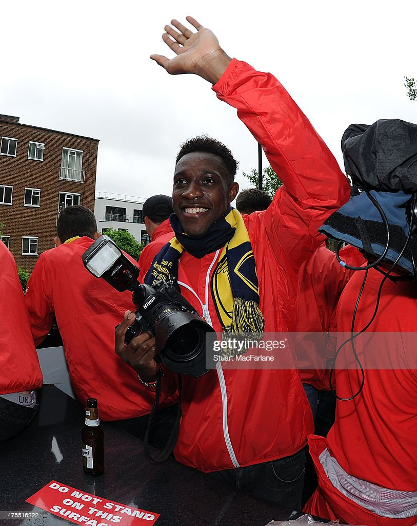 Danny Welbeck during the Arsenal FA Cup Victory Parade in Islington on May 31, 2015 in London, England.