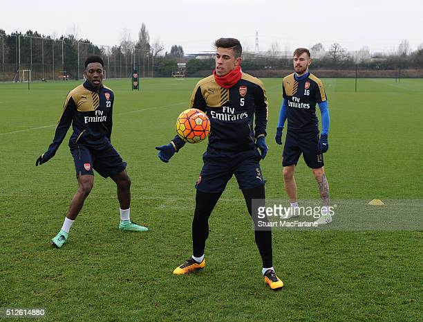 Danny Welbeck Gabriel and Aaron Ramsey of Arsenal during a training session at London Colney on February 27 2016 in St Albans England