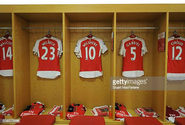 Danny Welbeck Jack Wilshere Gabriel and Olivier GIroud shirts in the Arsenal changing room before the Barclays Premier League match between Arsenal...